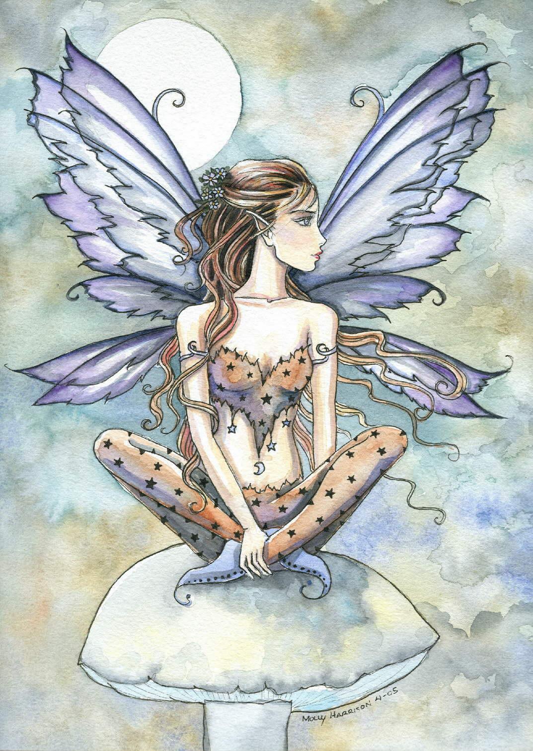 Elfe dessin papillon bleu - Dessiner un elfe ...